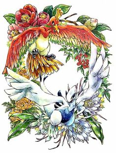 Lugia and Ho-oh by PIXIV ID 21463132