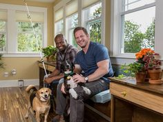 Grundy and Jason Hanging Out in the Sunroom
