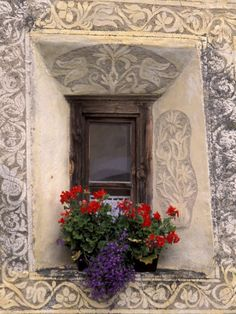 Architectural Detail and House Window, Guarda, Switzerland Photographic Print