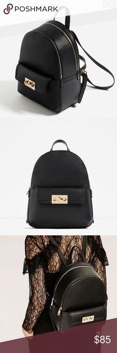 NWOT Zara Backpack with Zip Black faux leather backpack by Zara!  Gorgeous and classic, with gold tone hardware.  Two large main compartments, plus front pocket.  Tags removed but not used. Zara Bags Backpacks