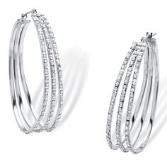 Palm Beach Jewelry PalmBeach Platinum over Sterling Silver Diamond Accent Fascination Triple Hoop Earrings