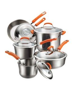 Rachael Ray Stainless Steel II 10-Piece Cookware Set, Orange  This cookware set is an exceptional value, including all of the pans needed to equip your kitchen with the most used cooking pieces. As the set contains only basic pieces, you'll really use each and every pan. It includes saucepans for whisking a homemade sauce or cooking your morning oatmeal, a big stockpot for soups, stews or boiling pasta, and skillets (probably the most used pan in any kitchen) that will help you turn ..