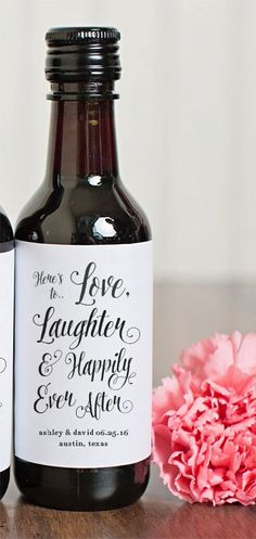 DESCRIPTION ----  Heres to Love, Laughter, and Happily Ever After! These labels are personalized with the bride and grooms name and wedding