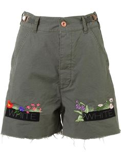 OFF-WHITE embroidered denim shorts. #off-white #cloth # | Off ...