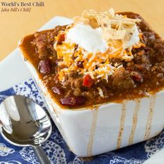 Many people swear that this is the World's Best Chili. Loaded with beef, bacon, and so much more, it's the perfect comfort food.