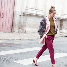 More layering for the cold December days - you've got to keep a pop of colour in there!