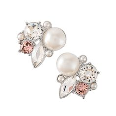 These Limited Edition Silver Crystal + Pearl Cluster Stud Earrings are a fresh take on a classic, heirloom look combining brilliant sparkle and timeless pearls, with a hint of sweet rose gold. www.charmingsusie.origamiowl.com