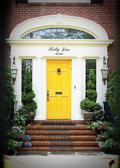 Since I'm forced to get a new front door... might as well paint it YELLOW! (via: Our Fine House)
