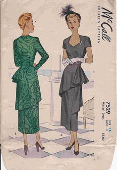 1940s  teired flounce dresses patterns | DellaJane Patterns: 1940's Sewing Patterns