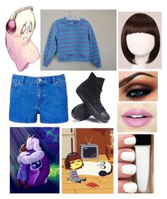 """Frisk undertale"" by chilcotea201 ❤ liked on Polyvore featuring Converse, WigYouUp and Fiebiger"
