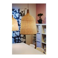 Love these rattan shades from ikea. each shade is unique. Gives both directed and diffused light, good for lighting up a dining table. Living Room Kitchen, Home Living Room, Living Spaces, Home Lighting, Lighting Design, New Home Wishes, Everything Is Illuminated, Lights Fantastic, Blue Rooms