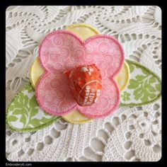 Machine Embroidery Flower Lollipop Holder | Embroidery It