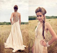 Sexy Sheer Champagne Beaded Formal Party Dress Halter Evening Prom Gowns Custom