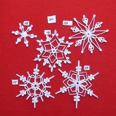 PDF Patterns for 5 Crocheted Snowflakes set 24 by TheNeedleWorks