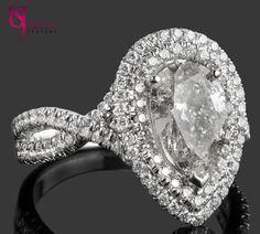 Poire en forme de bague de fiançailles en diamant, 2,51 TCW, Halo Double anneau, Twisted Shank, bande d