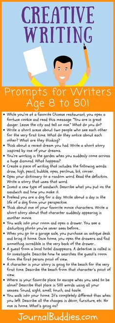 Creative Writing Prompts for Writers Age 8 to 80 Whether you're eight years old or 80 years old, here are some creative writing prompts that will help you improve your creating writing skills! Writing Prompts For Writers, Creative Writing Prompts, Book Writing Tips, English Writing Skills, Writing Lessons, Improve English Writing, Creative Writing Exercises, Improve Writing Skills, Writing Websites