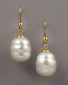 12mm Baroque Pearl Drop Earrings by Majorica at Neiman Marcus.
