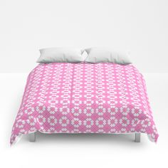 Delicate White and Pink Pattern Design Comforters by artaddiction45 | Society6