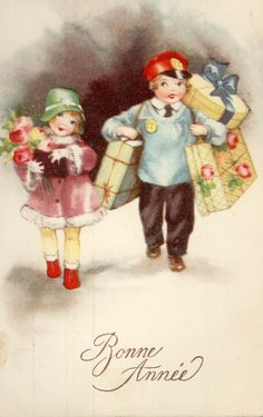 *Bonne Année* Two adorable children so happy with their Christmas packages! Vintage Greeting Cards, Vintage Christmas Cards, Retro Christmas, Vintage Holiday, Vintage Postcards, Christmas Deco, Vintage Photos, Christmas In Paris, Old Fashioned Christmas