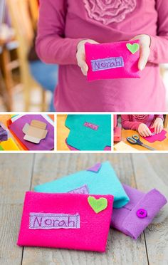 Handmade Valentines Envelopes: Easy Sewing DIY for Kids *You could do this with paper and washi tape too. So cute.