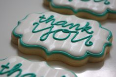 www.teenytinybakery.com Cookie Designs, Cookie Ideas, Cookie Decorating, Decorating Tips, Thank You Cookies, Edible Bouquets, Best Sugar Cookies, Decorated Cookies, Bakery