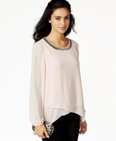 Alfani Embellished Asymmetrical-Hem Surplice Blouse, Only at Macy's