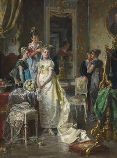 """Dressing the Bride"" → Carl Herpfer (1836-1897)."