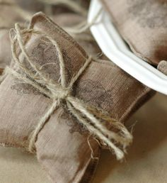 Pine conestamped linen lavender sachets by jennadesigns on Etsy