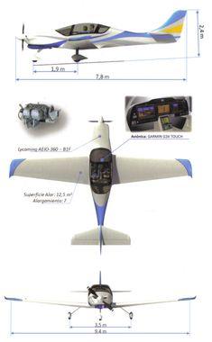 Tres vistas y dimensiones generales del IA-100-