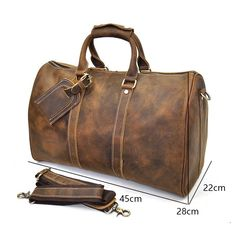 edccc5bd4e0f1 Genuine Leather Mens Cool Weekender Bag Travel Bag Duffle Bags Overnig –  iwalletsmen Duffle Bags