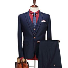 Formal Business Trade Groom Wedding Slim Fit 3 Pieces Dress Suits for Men