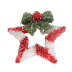 """16"""" Lighted Tinsel Red & White Star Wreath with Bow Christmas Window Decoration"""