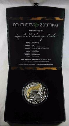 Ruanda Rwanda 1000 Francs 2013 Leopard und Schwarzer Panther Silber [5676