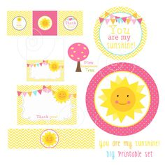 You Are My Sunshine Decorations, Baby Shower, Birthday Party, Cupcake Toppers, Thank You Cards, Bottle Labels, Food Bar Labels, Sunshine