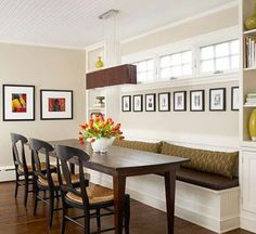 Banquette Benches for narrow dining room except with a slanted front to put your feet under you
