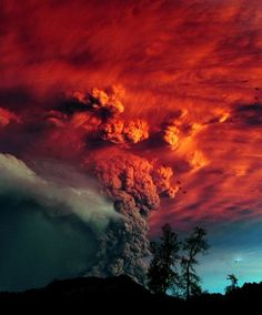 Red sky at night. Puyehue volcano eruption, Argentina, 2011.