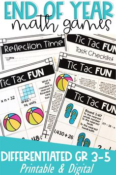 Looking for some engaging math activities for review for the end of the year? These differentiated, print, and digital fun math games will keep students thinking critically, working hard, and having a blast! Click the pin to check out these upper elementary math activities and game for end of the year! Fun Math Games, Class Activities, Math Lesson Plans, Math Lessons, Elementary Math, Upper Elementary, Special Education Math, Fifth Grade Math, Guided Math