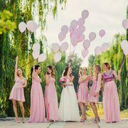 25 pcs Pink 12 in tall Metallic Latex Balloons Çorba Tarifleri Best Bridesmaid Gifts, Bridesmaid Dresses, Wedding Dresses, Bridesmaids, Massachusetts Wedding Venues, Low Cost Wedding, Perfect Wedding Dress, Bridal Boutique, Beauty