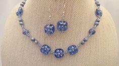 Long Blue White Flower Glass Shell Swarovski Necklace Earrings