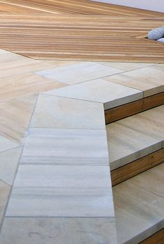 contemporary paving stones sandstone red with cedar decking