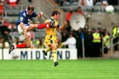 France 1 Romania 0 in 1996 at St James Park. Zinedine Zidane powers a shot over the bar in Group B at Euro '96.