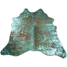 Turquoise Metallic Cowhide Rug Acid Washed on Brown Size 5 X 5.3 Ft... ($169) ❤ liked on Polyvore featuring home, rugs, floor & rugs, home & living, silver, animal rugs, cowhide rug, patchwork rug, cow rug and cow hide rug