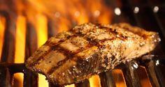 Cumin-Grilled Salmon with Kiwi Salsa Grilled Fish Recipes, Walleye Fish Recipes, Salmon Recipes, Grilling Recipes, Seafood Recipes, Cooking Recipes, Grilled Food, Cooking Tips, Grilled Walleye