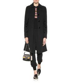 Cotton-blend black overcoat
