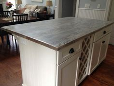 Grey Stained Butcher Block Countertop New House Kitchen