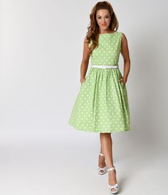 1950s Retro Style Tarragon Green Dotted Audrey Cotton Swing Dress $88.00 AT vintagedancer.com