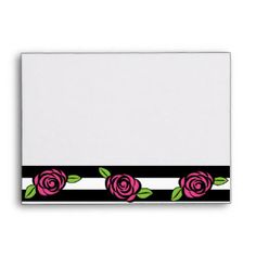 Envelope, Black and White Striped with Pink Roses Envelope