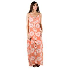 This daisy-inspired printed maxi dress with button placket detail is an easy piece to throw on. This tank dress is finished with a round neckline and tank design.