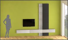 New magnetic modular bookcase . Modern home interior .