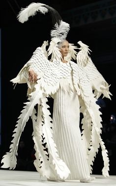 Paper Couture - sculptural paper dress with dramatic 3D structure & surface texture detail - paper manipulation; wearable art // Xu Ming